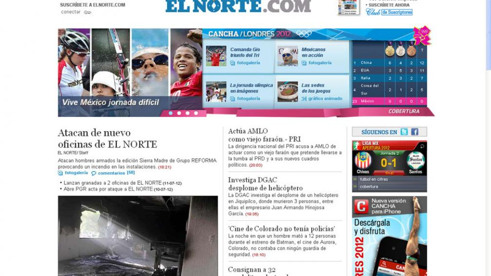 EL NORTE. En su portal web, el diario explica lo sucedido (Captura Web).