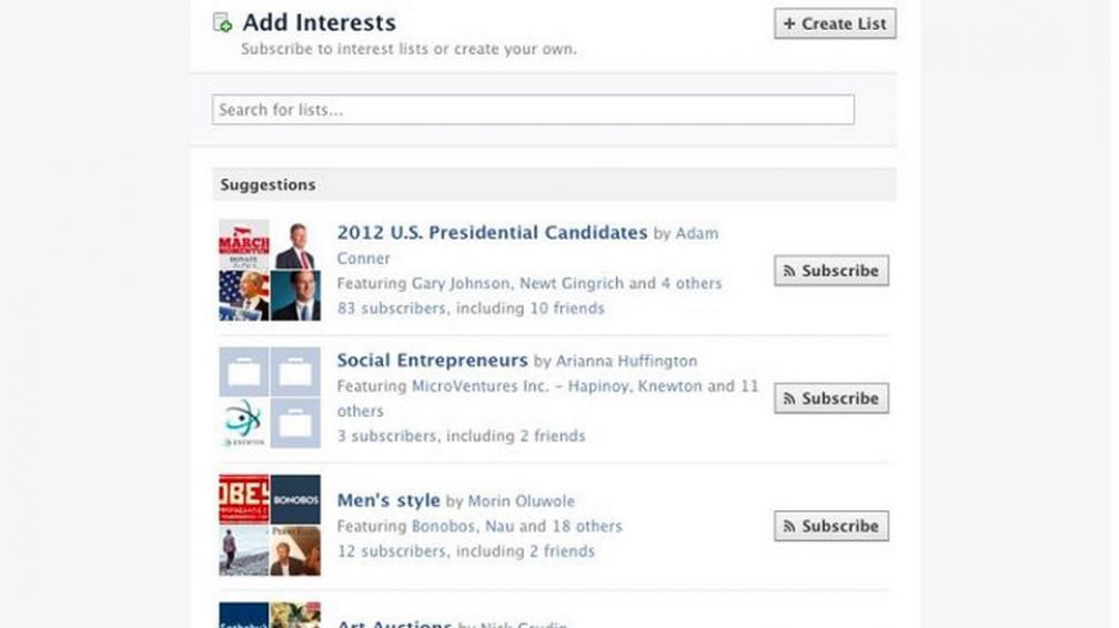 FACEBOOK. Algunas de las listas a las cuales se pueden unir los usuarios (Captura web).