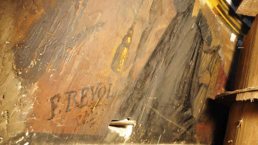 Con la rúbrica del artista. Félix Revol y Perier estampó su firma en las pinturas que realizó a mediados del siglo XIX y que se hallaron en el ático de la iglesia San Francisco (Ramiro Pereyra / La Voz).