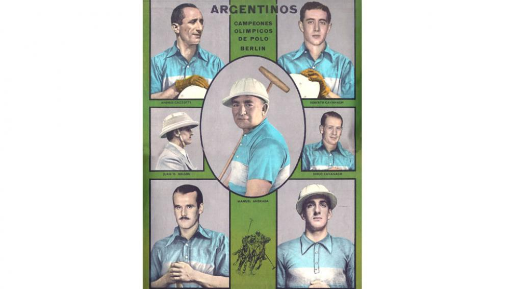 """Campeones. Manuel Andrada, en el centro, vivió en Washington y fue uno de los ganadores de la medalla  de oro en Berlín en 1936. Así apareció en """"El Gráfico""""."""
