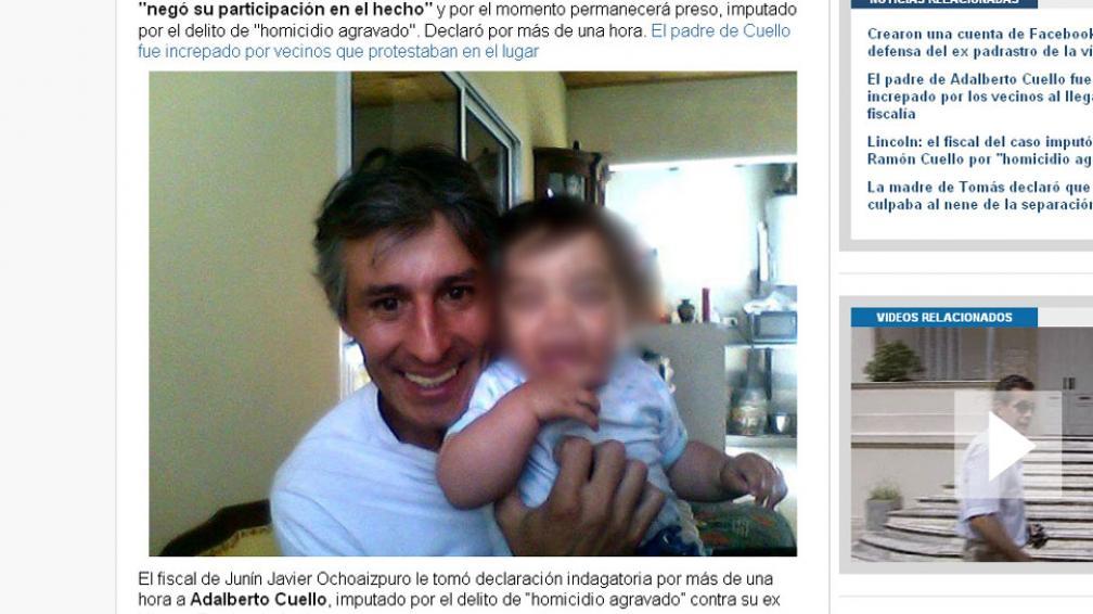 CUELLO Y TOMÁS. El padrastro es el único imputado por el crimen (Captura de Infobae).