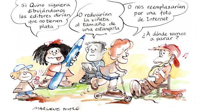 Homenaje. Pohle rinde tributo a  los célebres personajes  de la tira  de Quino. Vive  en Alemania.  Es presidenta de la Federación Internacional de Organizaciones de Dibujantes de Humor.