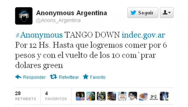 ANONYMOUS. Uno de los mensajes publicador en Twitter (Captura web).