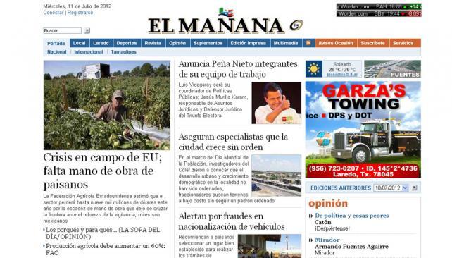 EL MAÑANA. El periódico ya no cubrirá hechos de violencia relacionados a los cárteles de droga (Captura web).