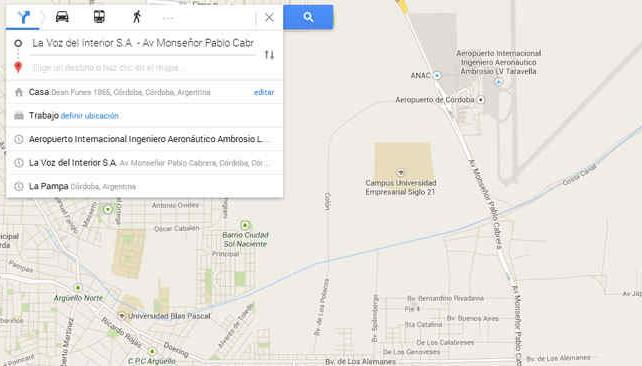 Google maps ya muestra recorridos del transporte p blico for Lavoz del interior cordoba