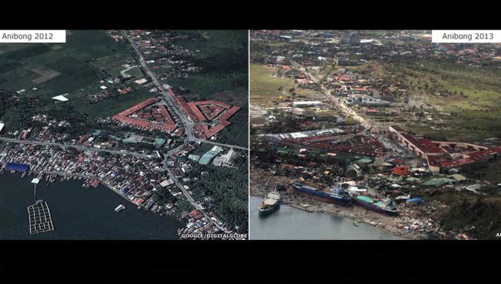 Ciudad de Tacloban, en la isla central de Leyte, y la de Guiuan, en la región oriental de Samar.