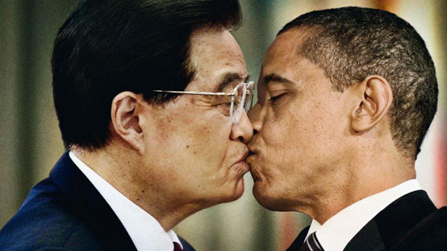"""BENETTON. Campaña """"contra el odio"""". Obama y el presidente de China, Hu Jintao."""